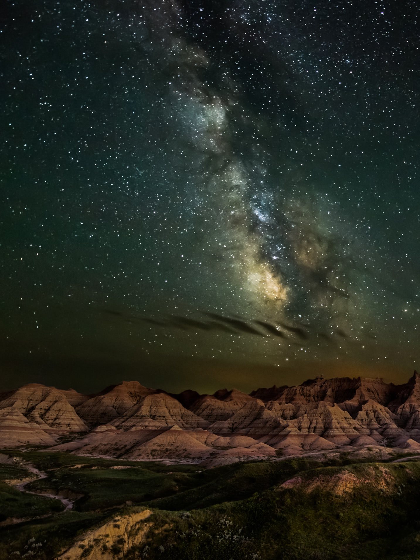 Night time sky in Badlands National Park