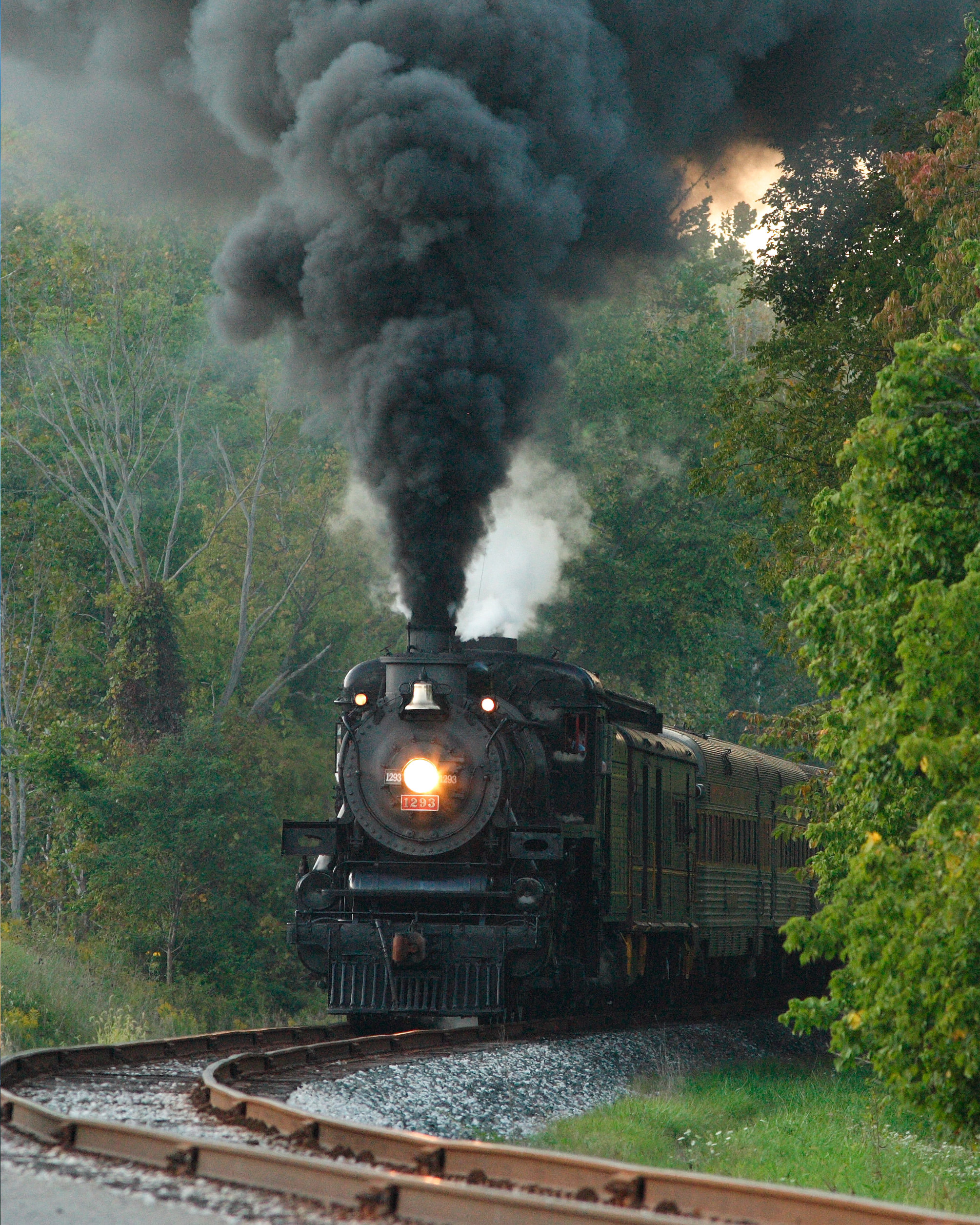 A train choo-choos along the Cuyahoga Valley Scenic Railroad
