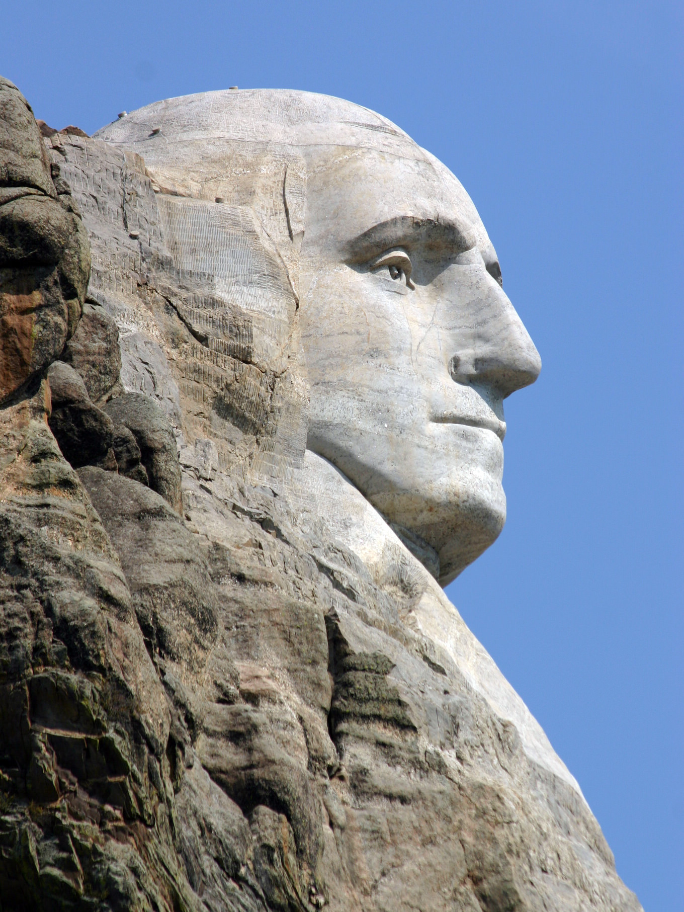 A side profile view of George Washington at Mount Rushmore