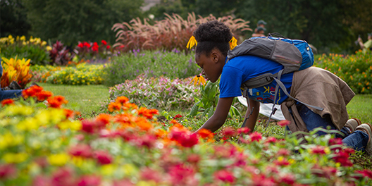 A young girl wearing a backpack kneals over a blooming flower bed at the National Mall