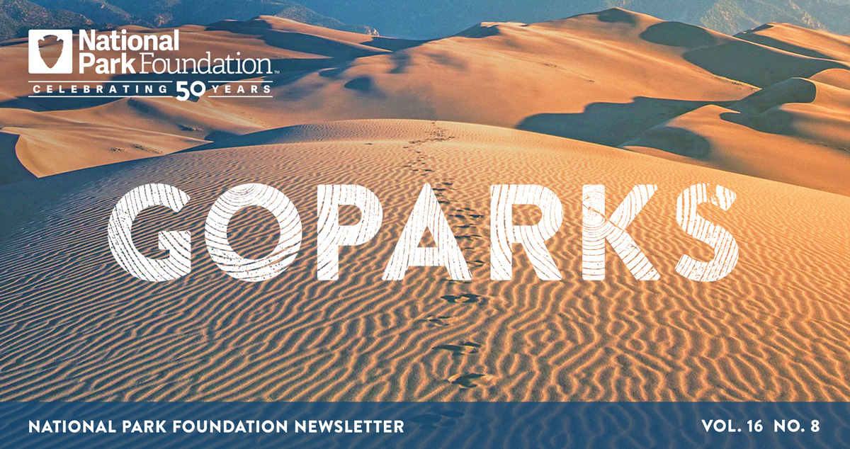 national park foundation, go parks newsletter graphic over a image National Park of American Samoa, including grassy mountains and view of coral underwater