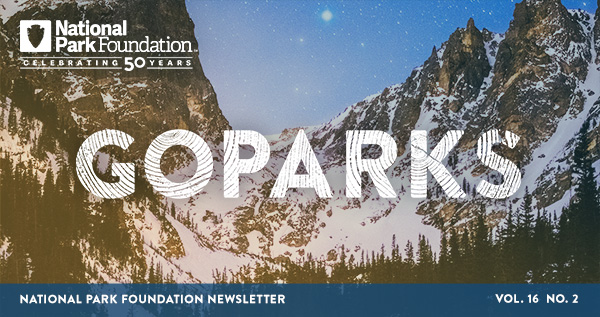 national park foundation, go parks newsletter graphic over a snowy image of Rocky Mountain National Park under a starry sky