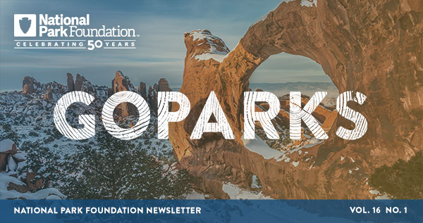 national park foundation, go parks newsletter graphic over a snowy image of arches national park