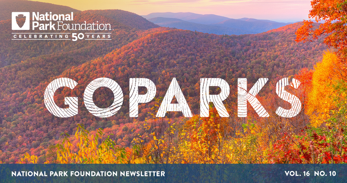 national park foundation, go parks newsletter graphic over image of Shenandoah National Park mountain range with colorful fall leaves in orange, red, and yellow