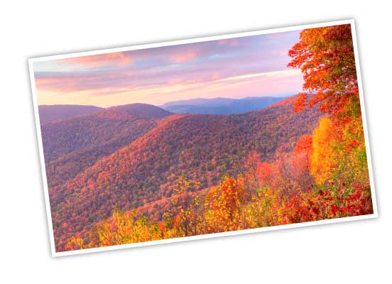 Shenandoah National Park mountain range with colorful fall leaves of red, orange, and yellow