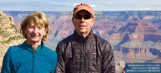 Monica and Buddy McSwain pose in front of the Grand Canyon