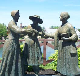 Sculpture of Susan B. Anthony meeting Elizabeth Cady Stanton at Womens Rights National Historical Park