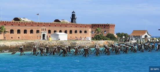 Dry tortugas national park in Florida, a fort surrounded by water