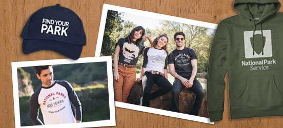photos of people wearing national park baseball tees and tee shirts