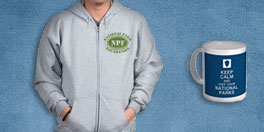 national park foundation gift collage with vintage NPF hoodie and blue mug