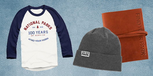 A collage of Find Your Park merchandise including a baseball tee, beanie, and notebook