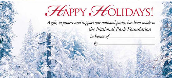 National Park Foundation gift certificate with lines for acknowledging who the gift was made by and in honor of