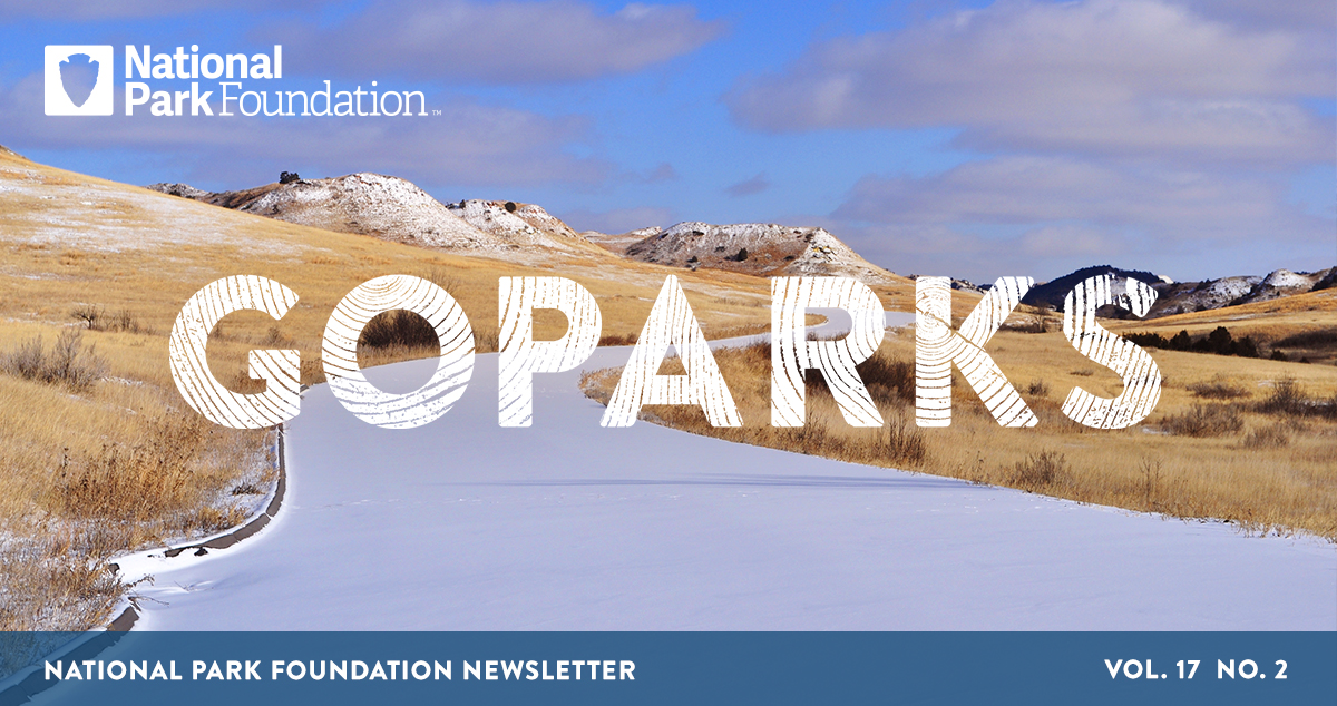 National Park Foundation, GoParks newsletter graphic cover image of a snowy walking path in Theodore Roosevelt National Park