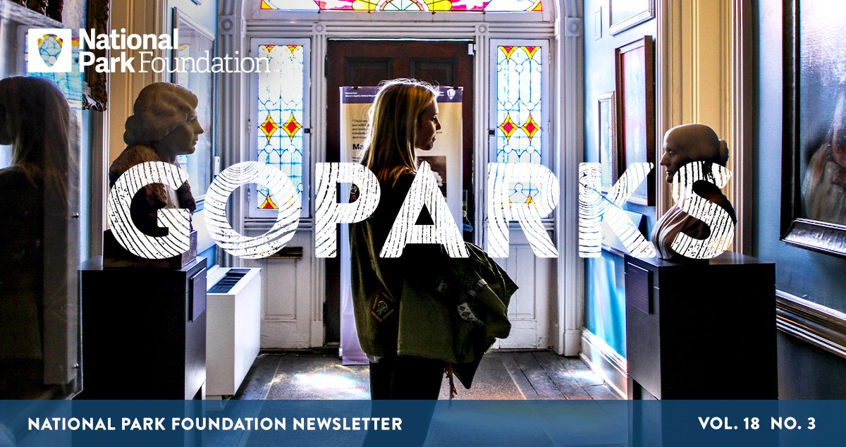 National Park Foundation, GoParks newsletter graphic cover image of the silhouette of a young woman back lit by an arch of stained glass windows while she looks at art in the blue entrance hall in Belmont-Paul Women's Equality National Monument