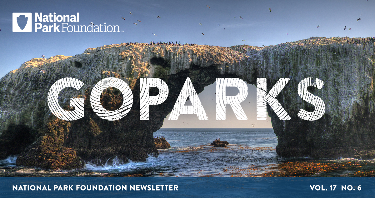 National Park Foundation, GoParks newsletter graphic cover image of a rock formation in the ocean at Channel Islands National Park