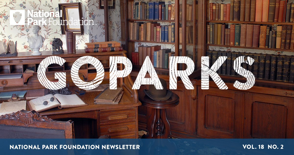 National Park Foundation, GoParks newsletter graphic cover image of the library at Frederick Douglass National Historic Site, showing a wooden, built-in bookcase filled with books next to an open rolltop covered in more books and ledgers