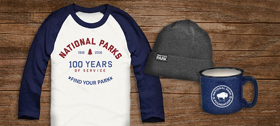 Find Your Park gift collage with gray beanie, blue enamel mug, and raglan tee