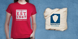 national park foundation gift collage with red 1967 tee and NPF canvas tote bag