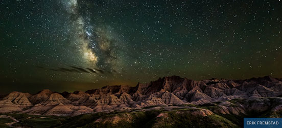 Starry sky over Badlands National Park