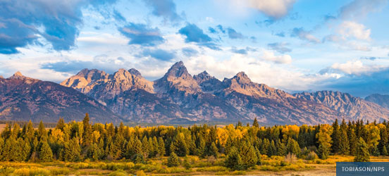 Grand Teton range in fall