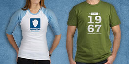 national park foundation gift collage with green tee and light blue baseball tee