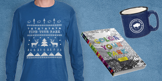 Find Your Park gift collage with blue holiday shirt, coloring book and mug