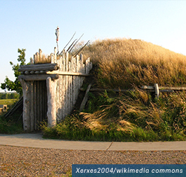A reconstructed earthlodge at Knife River Indian Villages