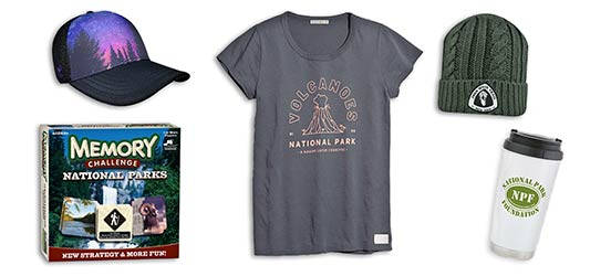 baseball cap, memory challenge game, volcanoes national park marine layer tshirt, knit beanie and national park foundation travel mug holiday gifts