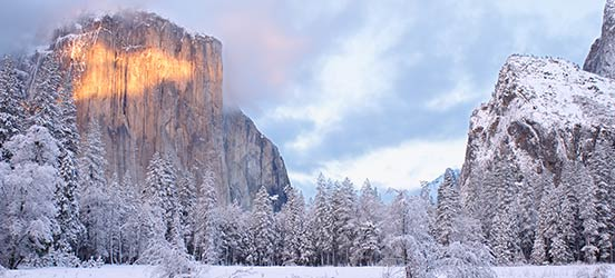 yosemite snowy mountain landscape