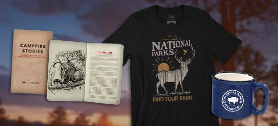 Collage of Find Your Park products, including Campfire Stories book, a black tee with a deer graphic, and a blue bison camper mug