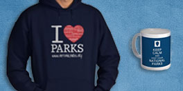 national park foundation gift collage with blue I Heart Parks hoodie and Keep Calm blue mug