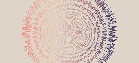 graphic illustration of tree rings transforming into color lines that look like sound waves