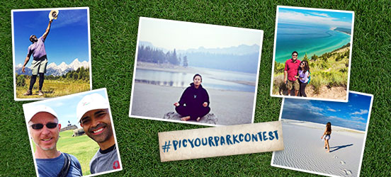 Instagram contest for #picyourparkcontest on an iphone, next to images of contestant entries