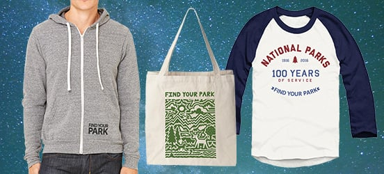Collage of Find Your Park sweatshirt, tote bag and baseball t-shirt