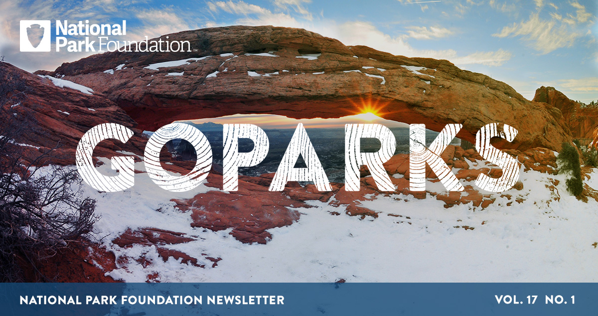 National Park Foundation, GoParks newsletter graphic cover image of snow dusted Canyonlands National Park