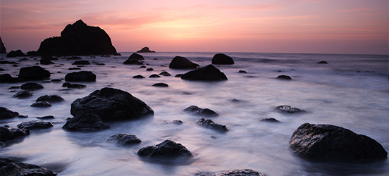 Rocky beach during sunset at Point Reyes National Seashore