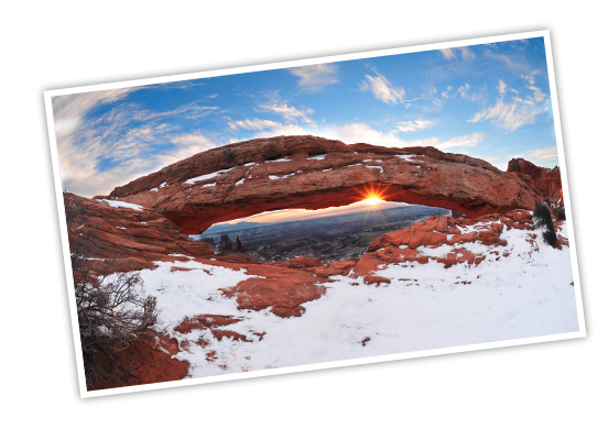 Snow dusted arch at Canyonlands National Park