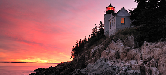 The lighthouse in Acadia National Park at sunset