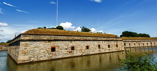 A stone military structure on Chesapeake Bay that is Fort Monroe