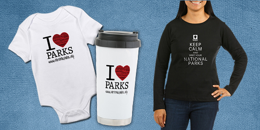 A collage NPF merchandise including a baby onesie, travel mug, and long sleeved shirt