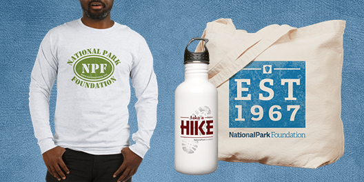 A collage NPF merchandise including long sleeved shirt, tote bag, and water bottle