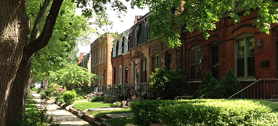 A row of houses in the Pullman Historic District