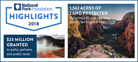 NPF infographic stating 16,467 trees and vegitation planted and 1,562 acres of land protected