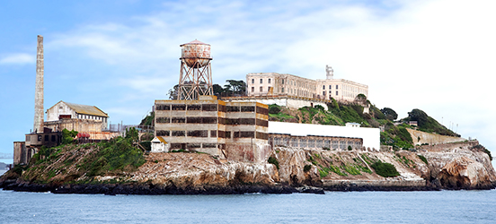 A view of the island of Alcatraz, showing the jail and other facilities that serve the jail