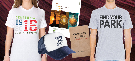 Collage of Find Your Park merchandise, including two shirts, a hat, a poster, and a book