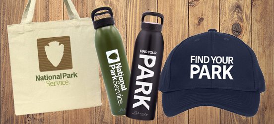 A collage of merchandise from the Find Your Park store, including a hat, water bottles, and a tote bag