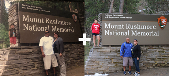 A historic image of a famiy posing around the Mount Rushmore National Memorial sign next to a modern photo of a family posing the same way around the same sign