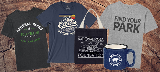 Collage of tshirts from the Find Your Park store, along with a tin camping mug and a tote bag