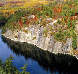 An aerial image of autumn turned trees on tall, lakeside cliffs in Voyageurs National Park