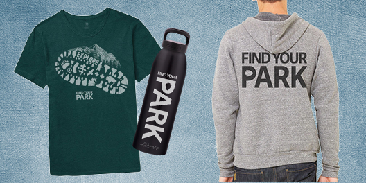 A collage of Find Your Park merchandise including a tshirt, waterbottle, and sweatshirt